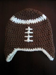 Crochet Hat Pattern Football Baby Earflap Hat PDF by PoshPatterns, $3.99