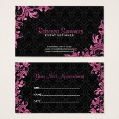 Pink Metallic Lace Black Damasks- Appointment Business Card - elegant gifts gift ideas custom presents Metallic Lace, Elegant Styles, Pink Style, Pink Gifts, Elsa Frozen, Black Laces, Office Gifts, Cool Diy, Office Ideas