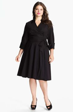 Donna Ricco Wrap Shirtdress (Plus) | full figured and fabulous | womens plus size black dress | womenswear | fashioin | style | wantering http://www.wantering.com/womens-clothing-item/donna-ricco-wrap-shirtdress-plus/afiST/