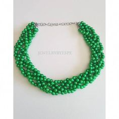 5 Strands Green Beaded Necklace Perfect for a Wedding Necklace is 21 inches long approx Beads: Green Necklace, Simple Necklace, Necklace Set, Pearl Necklace, Beaded Necklace, Bridal Bangles, Wedding Bracelet, Wedding Jewelry, Statement Necklace Wedding