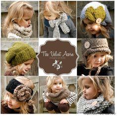Уютные вязаные теплушки для малышек от Heidi May. Many beautyfull hat and scarf models