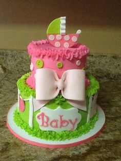 Lime Green And Hot Pink Baby Shower Cake