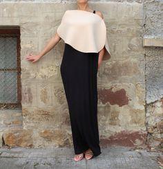 Black Caftan Maxi Dress  Extravagant  Dress by cherryblossomsdress