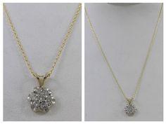 VINTAGE 14KT TWO TONE WHITE & YELLOW GOLD .50 CT DIAMOND PENDANT W/ 14K CHAIN #Pendant