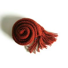 Terracotta Long Scarf Knitted in Soft Wool Blend | knitBrandashop - Scarves and Accessories