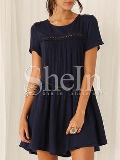 Navy Short Sleeve Shift Dress -SheIn(Sheinside) Mobile Site