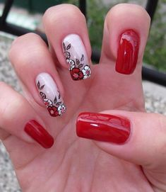 70 Best Stunning Red and Dark Red Square Nails Manicure Design Make You Mad in Winter - Page 5 Classy Nail Designs, Pink Nail Designs, Nails Design, Red Manicure, Trendy Nail Art, Dark Nails, Super Nails, Fancy Nails, Flower Nails