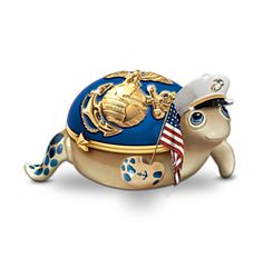 red, white and blue tortoise music box