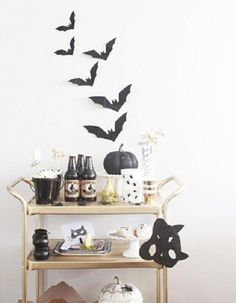 10 Ghoulishly Chic Accessories For A Halloween Soiree - brass bar cart