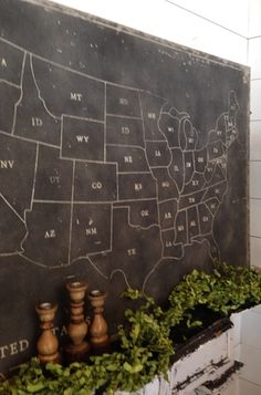 USA chalkboard map from Magnolia Market  in Waco, Texas. I love the show Fixer Upper on HGTV. Chip and Joanna Gaines have great style and there store is so much fun! www.carleykelley.com
