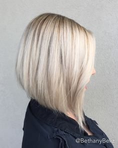 Balayage Hairpainting highlights icy white blonde asymmetrical Aline haircut short medium