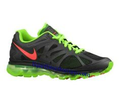 Mens Nike Air Max 2012 Black Electric Green White Bright Crimson Shoes