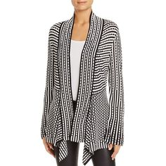 The graphic black-and-white motif and flowing waterfall silhouette of this Nic+Zoe cardigan adds an effortless pop of pattern to dressy or casual cold-weather …