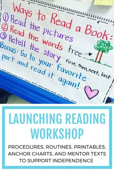 Procedures, routines, printables, anchor chart examples, and mentor texts to support reading independence while launching reading workshop. Reading Lessons, Reading Strategies, Guided Reading, Teaching Reading, Reading Logs, Reading Activities, Classroom Activities, Reading Comprehension, Kindergarten Anchor Charts