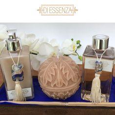 Kit de sabonete líquido e difusor da nossa linha Murano (essência Rosas di Amalfi) e vela aromatizada artesanalmente trabalhada.