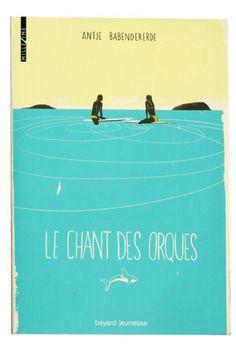 surfers. illustration. orcas. ocean. hand type