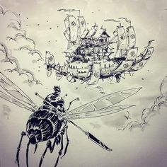 regram @ullikummi Sky pirates #inktober #inktober2015 #inktober2go