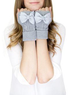 LIGHT GRAY MITTENS, short fingerless knit gloves with bow, grey knit gloves, knit bow gloves, wool on Etsy, $32.50