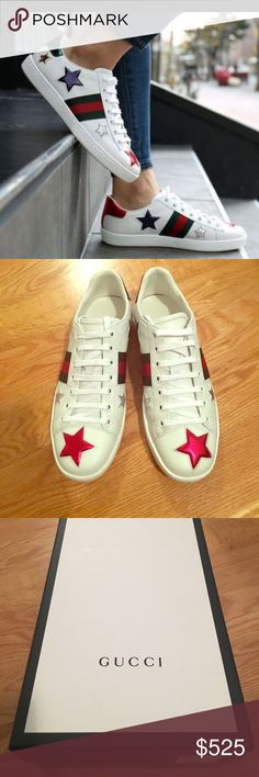 d04d7a5390e My username is  carleightahler.  shopmycloset  poshmark  fashion  shopping   style  forsale  Valentino  Shoes. See more. Spring 2017 Gucci Star sneakers  ...