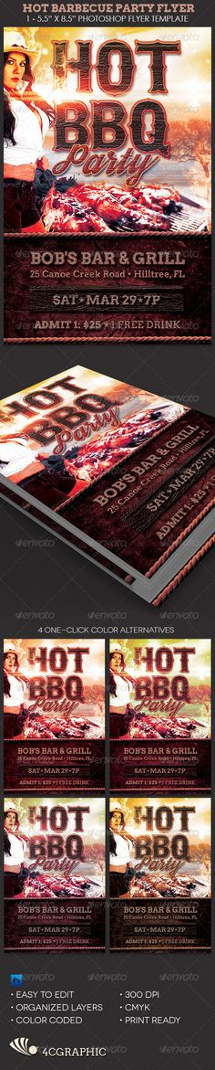 Hot Barbecue Party Flyer Template - Events Flyers
