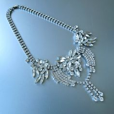 Vintage Fringed Necklace 50's Czech Clear Large by prettyinprague, $168.00