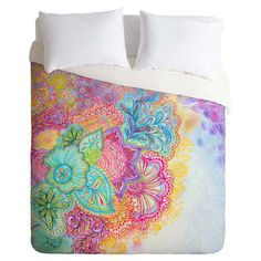 Bring whimsical style to your master suite or guest room with this eye-catching duvet cover, showcasing a garden-chic floral motif and a vibrant multicolor p...