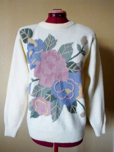 vintage alfred dunner cream floral knit sweater. by june22nd