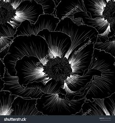black and white seamless background with flowers. Hand-drawn contour lines and strokes. design greeting card and invitation of the wedding, birthday, Valentine's Day, mother's day and other holiday