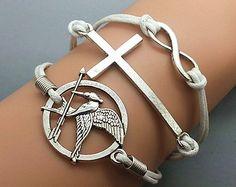 Bronze Cross& Huger Games And Infinity Wish Bracelet ,diy cheap fashion leather bracelet,handmade bracelet shop at www.costwe.com