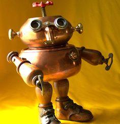 robot assemblage sculpture - BOOGIE BOOTS by Will Wagenaar