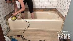 Sand Bathtub Before Painting It Old Bathtub, Clean Bathtub, Bathtub Tile, Painting Bathtub, Bathtub Cleaning, Bathtub Makeover, Tile Refinishing, Bathtub Shower Combo, Bathroom Renovations
