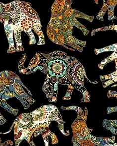 Kaffe Fassett's Quilts in the Cotswolds Quilt fabric online store Largest Selection, Fast Shipping, Best Images, Ship Worldwide Elephant Design, Elephant Print, Elephant Pictures, Virtual Art, Indian Embroidery, Iphone Background Wallpaper, African Design, Old Art, Mandala Design