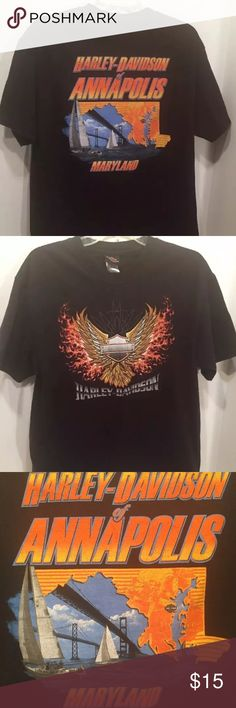 HARLEY DAVIDSON Annapolis MARYLAND T Shirt Large HARLEY DAVIDSON Black Annapolis MARYLAND Bay Bridge T Shirt Large   Shirts is black with Harley Davidson wings and Logo on the front.   On the back is sail boats and the Bay Bridge. Harley-Davidson Shirts Tees - Short Sleeve