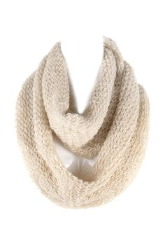 Averly Infinity Scarf in Ivory Shimmer.