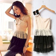 Women Casual #Chiffon One Shoulder Patchwork #Tiered Pleated Mini #Dress