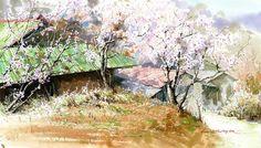 Beautiful paintings by Korean artist watercolorist Jong Sik Shin Watercolor Mixing, Watercolor Trees, Watercolor Landscape, Watercolour Painting, Watercolours, Art Station, City Landscape, Watercolour Tutorials, Korean Artist
