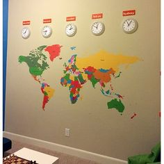 World Map, Kids Wall Decals, Children Wall Stickers- World Map -Educational Wall Mural, Playroom Vinyls Children Must Have Wall Arts Kids Room Wall Decals, Name Wall Decals, Nursery Wall Decor, Art Wall Kids, Wall Art Sets, Wall Murals, Wall Stickers World Map, World Map Wall, Maps For Kids