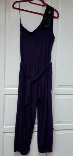 770678ee9037 Praslin Purple Jumpsuit With Belt size 20 NEW!! 1 SHOULDER JEWELLED  fashion   clothing  shoes  accessories  womensclothing  jumpsuitsrompers (ebay link)