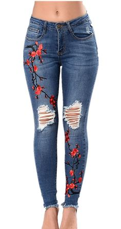 Womens skinny sexy slim elastic fit lady jeans trousers corner embroidered small feet plus size pantalones vaqueros mujer Diy Jeans, Lässigen Jeans, Mode Jeans, Casual Jeans, Denim Pants, Women's Pants, Women's Casual, Fall Jeans, Denim Shirts