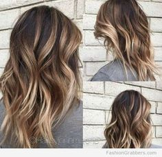 Soft brunette balayage with blonde tips