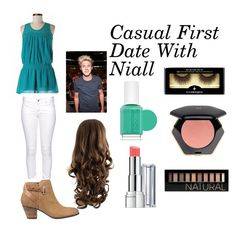 """Casual First Date With Niall"" by jazzybarrera on Polyvore featuring Romeo & Juliet Couture, Citizen of Humanity, GUESS, Revlon, Forever 21, H&M, Illamasqua and Essie"