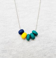 Emerald green necklace, Yellow necklace, Navy blue necklace, Three colors necklace, Tiny necklace, Polymer clay jewelry, Mothers day gift by GentleColorsJewelry on Etsy