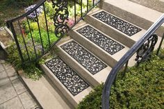 Set of 4 Scrolled Rubber Stair Step Treads Mats Scroll Outdoor Porch Traction