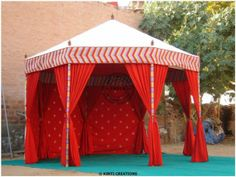 Luxury Wedding Tent in dark red color with line shading.