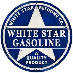 Vintage White Star Gasoline Giant Round Metal Sign 28 x 28 Inches Garage Signs, Garage Art, Garage Ideas, Loft Usa, Advertising Signs, Vintage Advertisements, Old Gas Pumps, Etiquette Vintage, Old Gas Stations