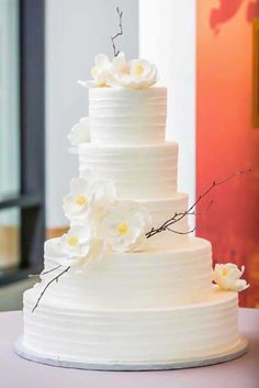 Wedding Cakes - Yes! These lovely white wedding cakes have just made my day. It's such a great feeling to come across beauty so unexpectedly, especially when it involves perfectly crafted cake masterpieces made with brilliant floral . White Wedding Cakes, Beautiful Wedding Cakes, Beautiful Cakes, Amazing Cakes, Wedding White, Orchid Wedding Cake, Large Wedding Cakes, Cake Wedding, Purple Wedding