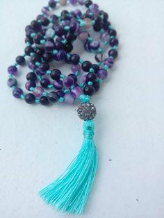 Shamballa Mala Purple Agate Crown Chakra 108 by BohoBeachJewelry