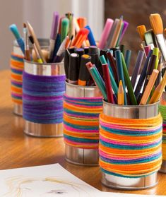 Wrapped Storage Can -  easy crafts for kids made with yarn.