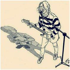 Kurt Metal Drawing, Arte Grunge, Donald Cobain, Nirvana Kurt Cobain, Dark Drawings, Thrash Metal, Parkour, Art Sketchbook, Spirit Animal
