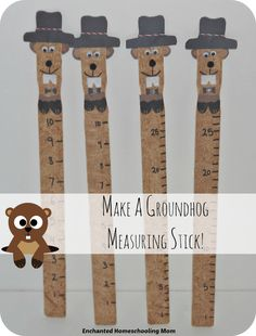 Groundhog Measuring Sticks: Create a fun Groundhog Day themed paint stick for measuring shadows. Preschool Groundhog, Groundhog Day Activities, Hands On Activities, Activities For Kids, Math Work, Fun Math, Paint Stirrers, Measurement Activities, Teacher Created Resources